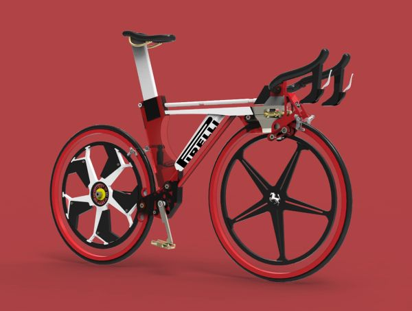 Concept bike de Fraser Leid inspiré d'une possible collaboration entre les marques Ferrari et Pirelli.